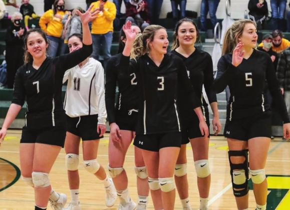 The Timber Lake volleyballers wave goodbye to the crowd following their final match of the season last Tuesday in the SoDak 16 round in Mellette. Northwestern defeated TLHS to advance to the state tournament. Photos by Robert Slocum